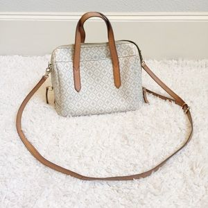 FOSSIL Cream Crossbody Leather Handle Handbag